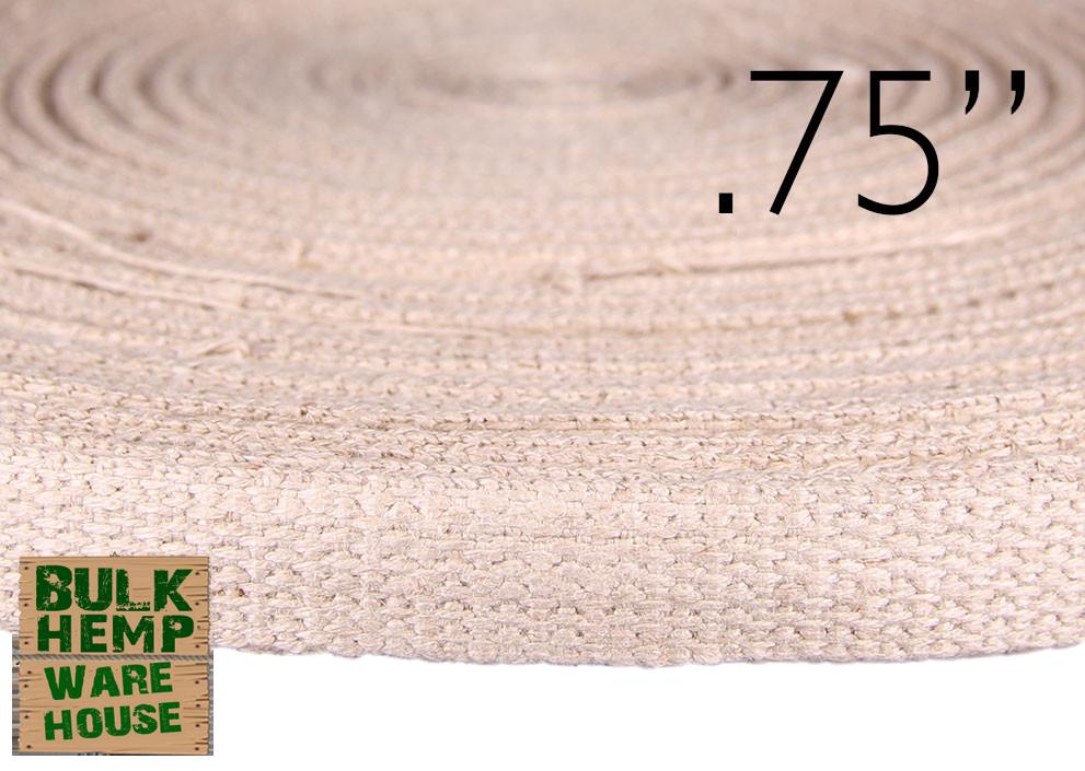 3/4 Inch Hemp Webbing - Romanian - 50 Meter Coil Natural